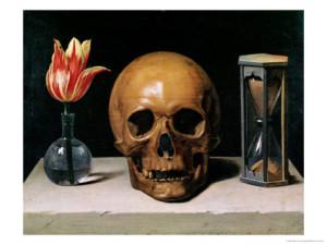 Dödskalle och blommor